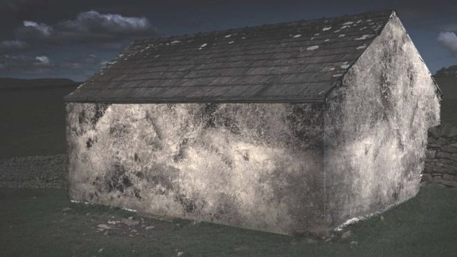 Fleece clad sheep house with projection of water fall in Cumbria