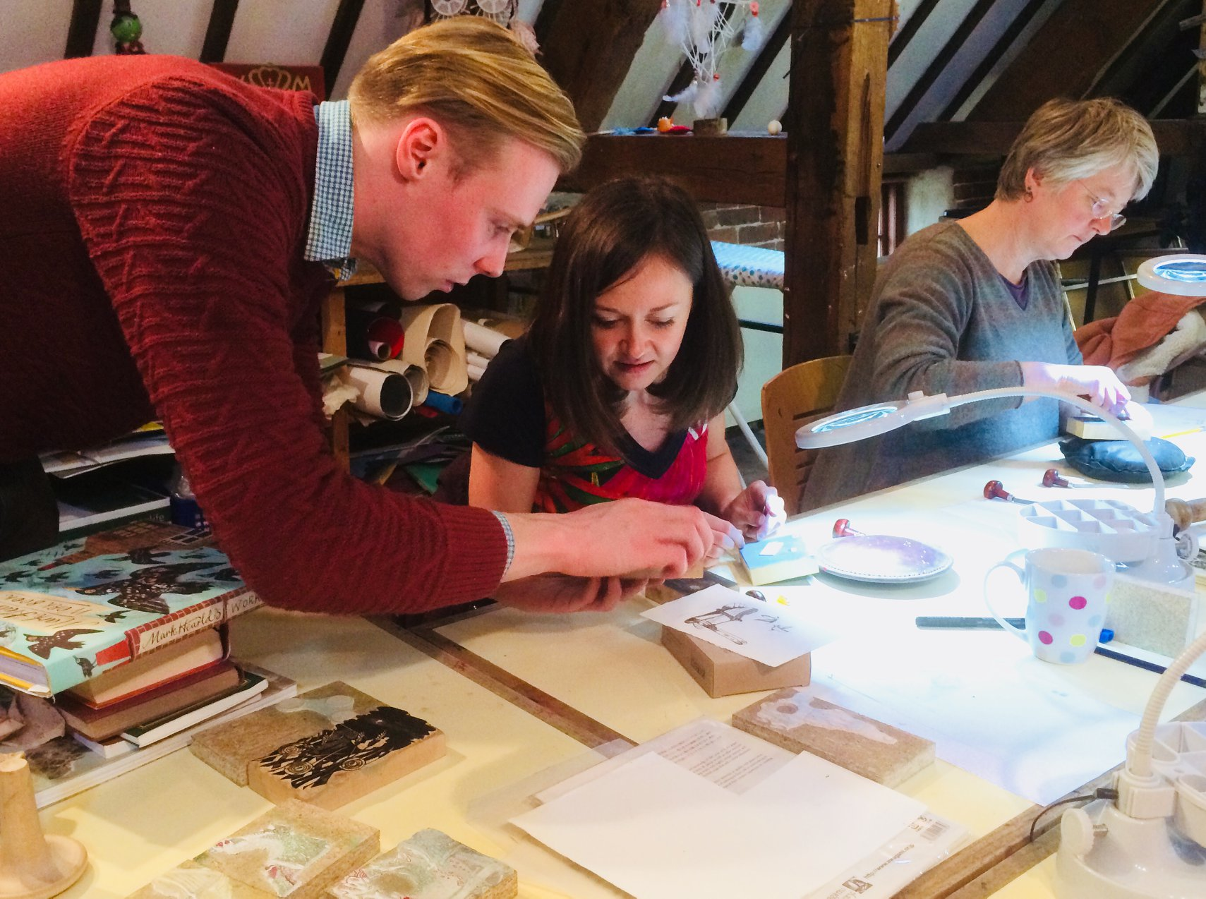 Robin Mackenzie running wood engraving workshops at Walford Mill Crafts, Wimborne