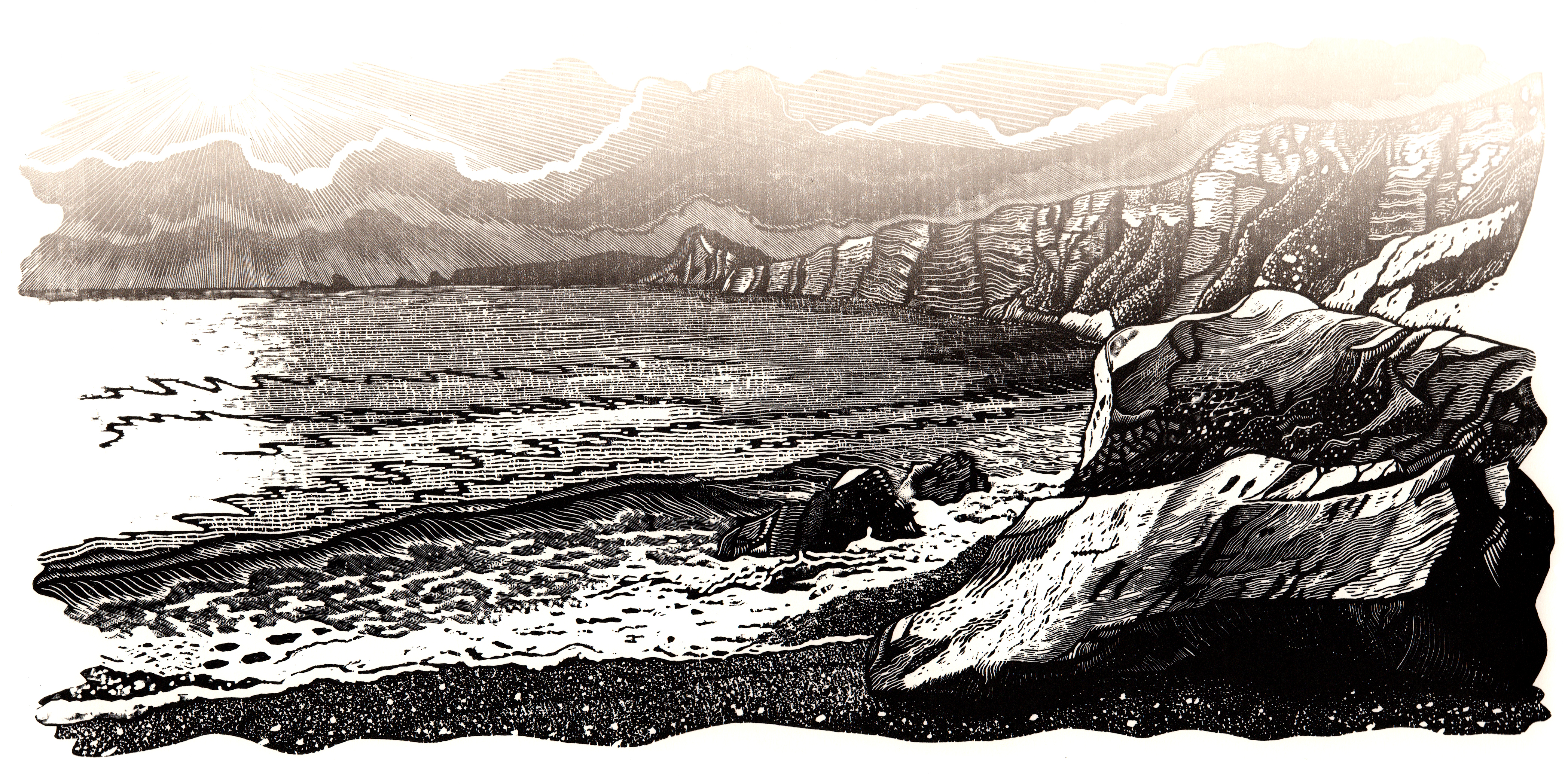 Tyneham, 2018. Wood engraving block print, Robin Mackenzie