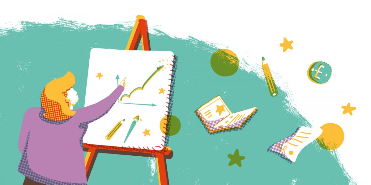 Illustration of a person drawing their business plan by Bel Burkill