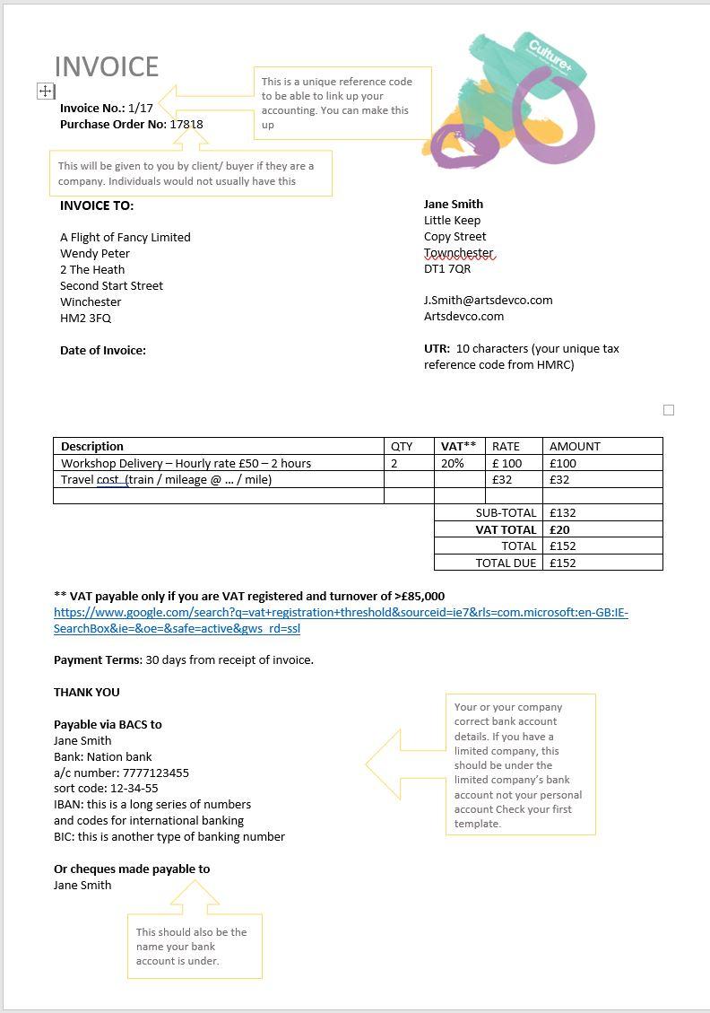 invoice template the arts development company