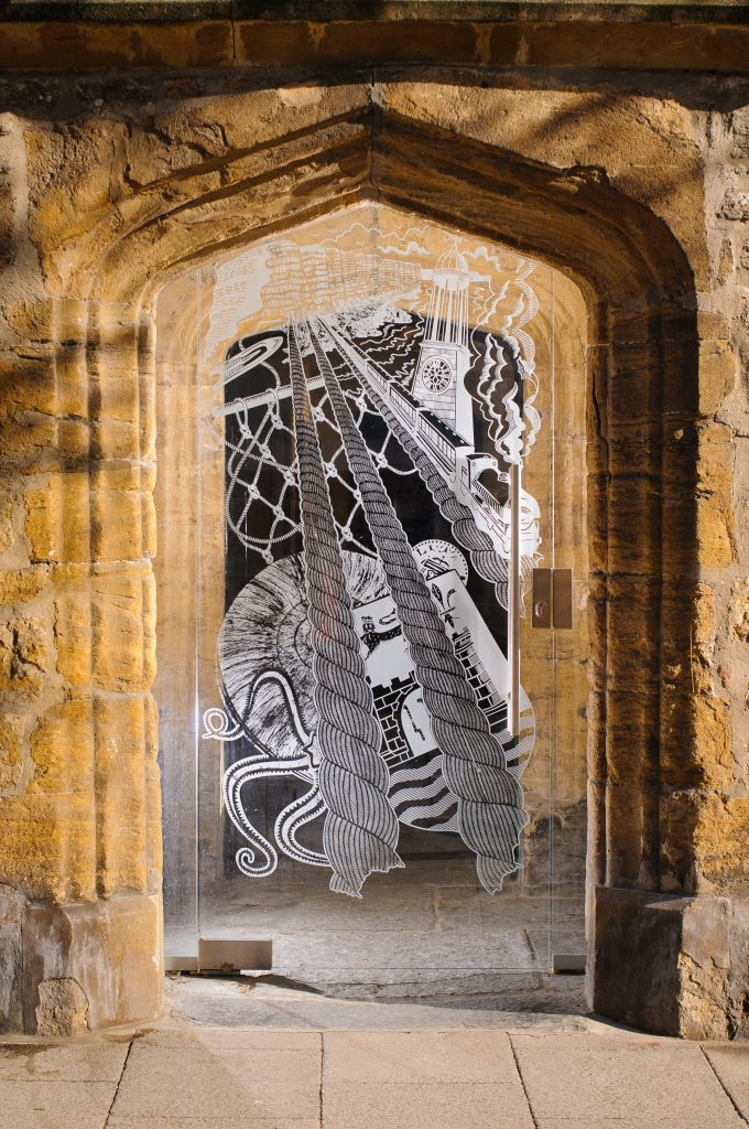 Bridport Museum glass door by Robin Mackenzie Photo: Pete Millson 2018