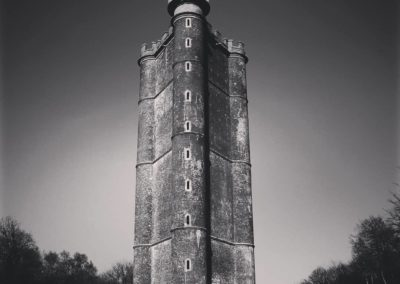 A black and white image of a tall tower amongst trees