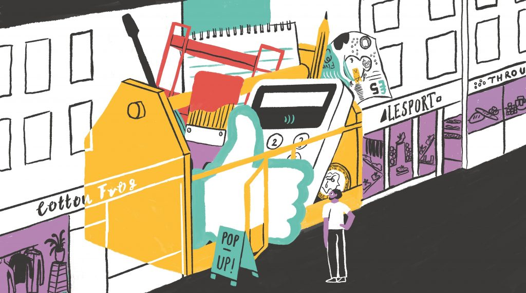 Illustration of a popup shop on a high street by Bridie Cheeseman