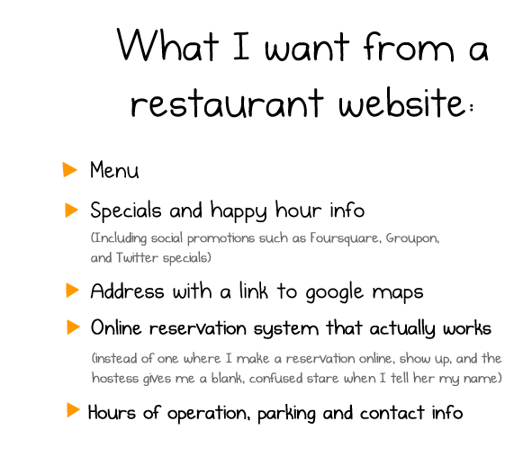 A list of items one wants from a restaurant website, menu, special offer, address, online reservation, hours of operation