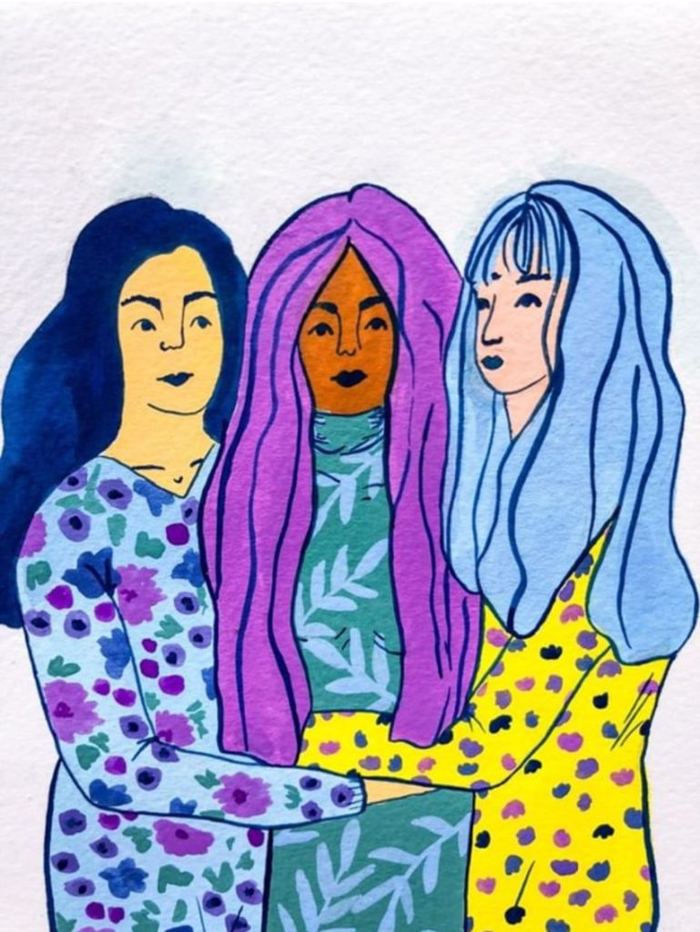 Three women hand painted illustration by Tink Outside the Box Octavia Bromell