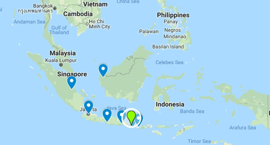 Map of Indonesia market on the places where the participants come from