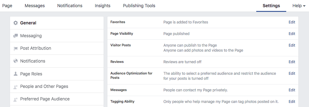 Facebook page visibility settings page example