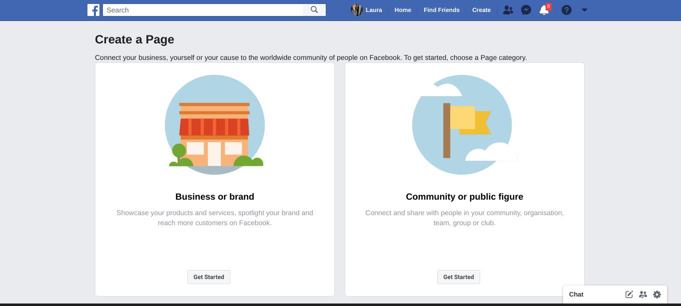 Facebook create a page screen shot