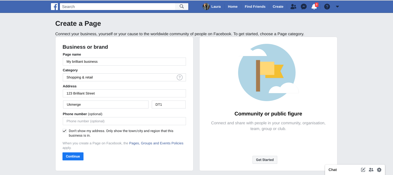 Facebook create a page more detail screen shot