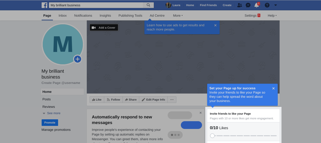 Facebook page Profile and Cover photo screenshot example