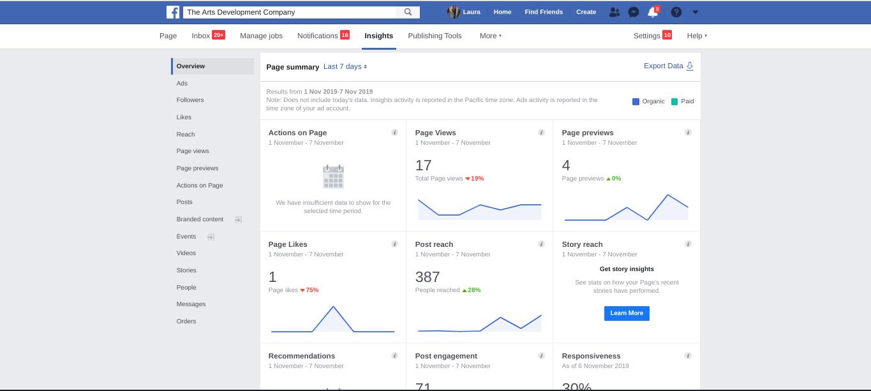 Facebook insights screenshot
