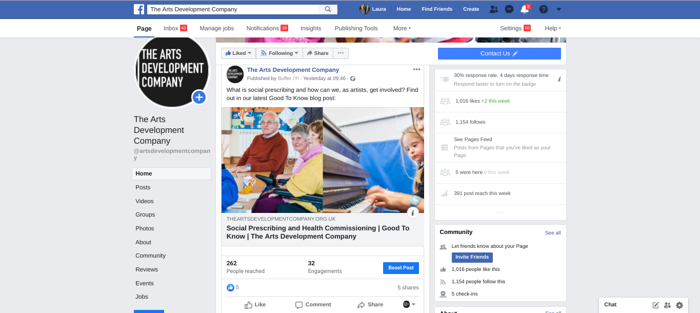 An example of a Facebook business page post screenshot