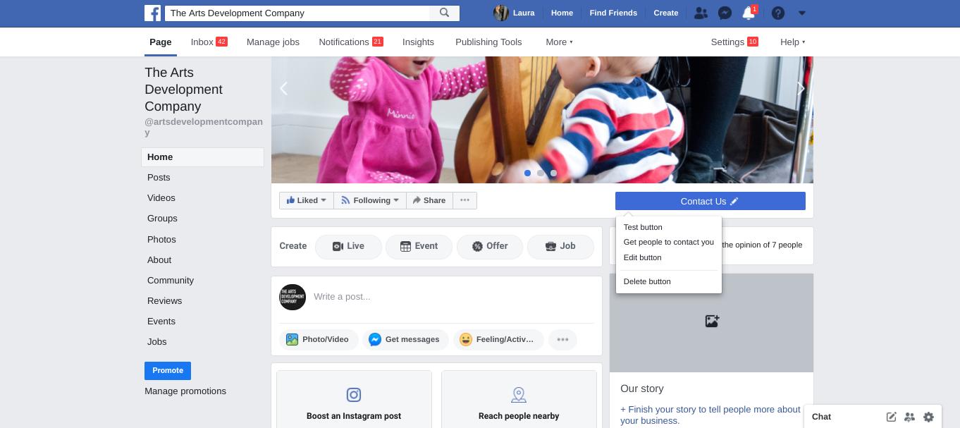 Facebook call to action button screenshot