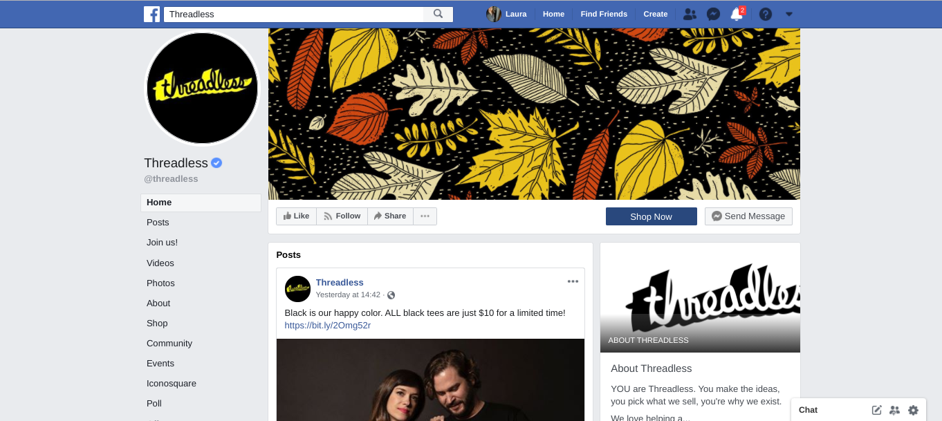 An example of Threadless Facebook page