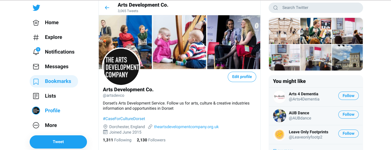 The Arts Development Company Twitter profile example