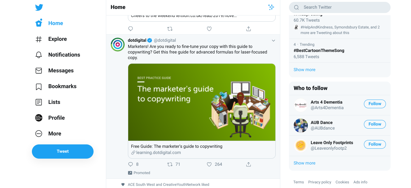 An example of a paid promoted tweet