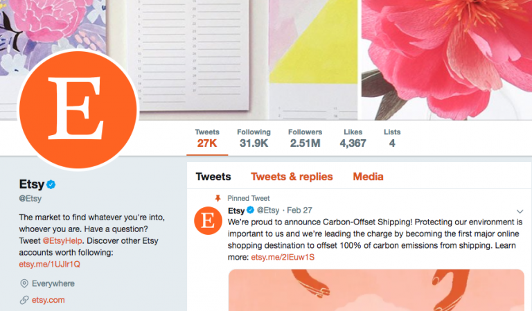 Etsy Twitter profile example